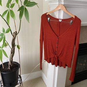 GARAGE Red Rust Ribbed Button Up Knot Cardigan